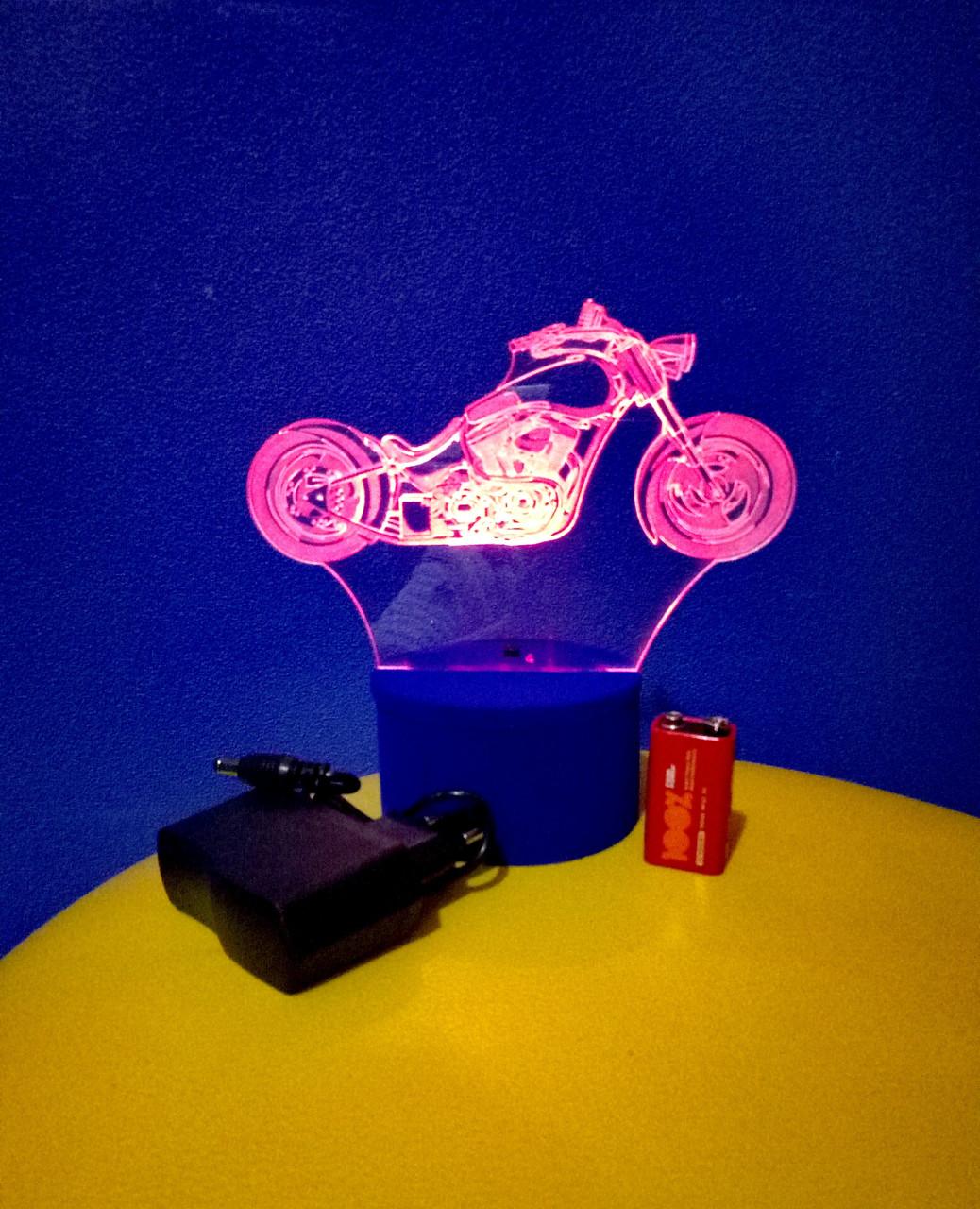 3d-світильник Чоппер, мотоцикл, 3д-нічник, кілька підсвічувань (батарейка+220В)