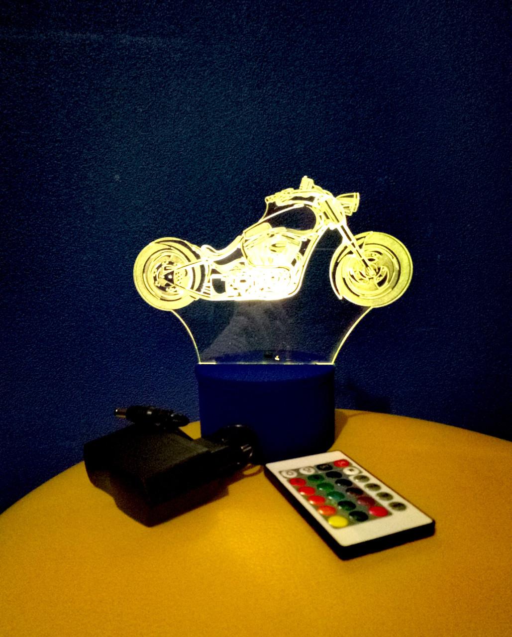3d-світильник Чоппер, мотоцикл, 3д-нічник, кілька підсвічувань (на пульті)