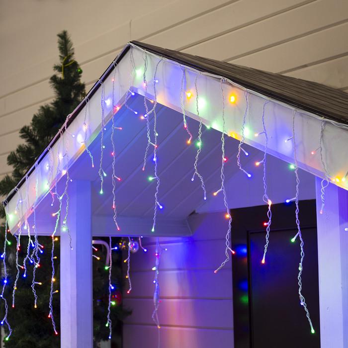 "Уличная LED гирлянда Бахрома ""Icicle"" 5 метров Flash мерцание, Мульти Цветная 180 Ламп белый провод каучук пвх"