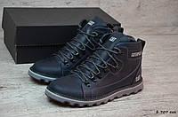 Мужские зимние ботинки на меху в стиле Caterpillar, кожа, шерсть, полиуретан, синие *** 40 (26 см)