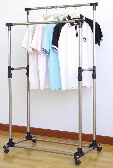 Двойная Вешалка Double Pole напольная двойная стойка для одежды полка TyT