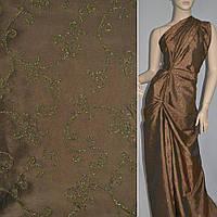 Тафта коричневая светлая с золотым напылением (14428.007)
