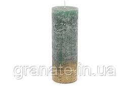Свеча цилиндрическая 20см амбре, цвет - зелёно-голубой с золотом