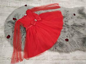 Нарядное детское платье на девочку спереди с  бантом красное 4-7 лет, фото 2