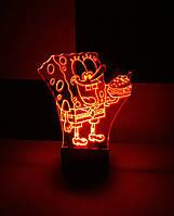 3d-светильник Спанч Боб, Губка Боб, 3д-ночник, несколько подсветок (на батарейке)