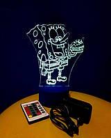 3d-светильник Спанч Боб, Губка Боб, 3д-ночник, несколько подсветок (на пульте)