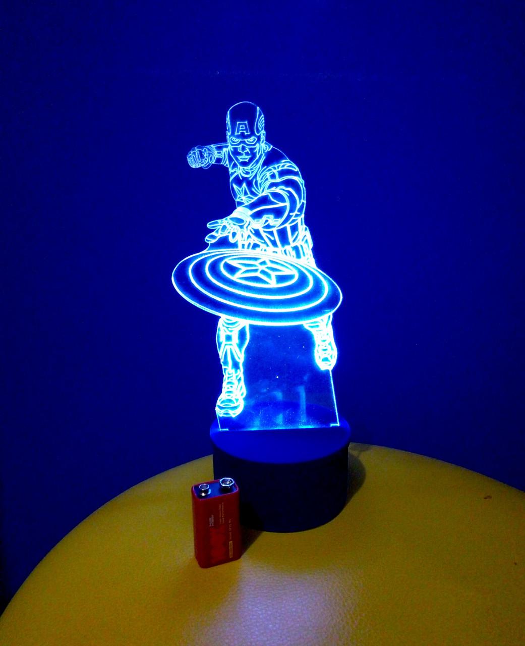 3d-светильник Капитан Америка, 3д-ночник, несколько подсветок (на батарейке), подарок мальчику