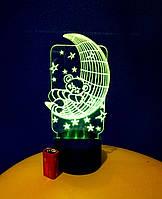 3d-светильник Мишка на луне, 3д-ночник, несколько подсветок (на батарейке)