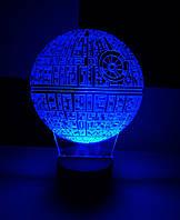 3d-светильник Звезда смерти (Звездные войны, Star wars), 3д-ночник, несколько подсветок (на батарейке)