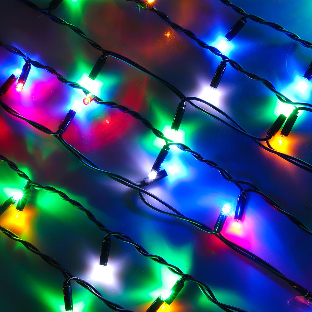 """Внешняя LED гирлянда Бахрома """"Icicle"""" 10 метров Мульти Цветная, 200  Ламп черный провод каучук пвх, 8 режимов"""