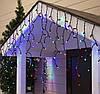 """Внешняя LED гирлянда Бахрома """"Icicle"""" 10 метров Мульти Цветная, 200  Ламп черный провод каучук пвх, 8 режимов, фото 4"""
