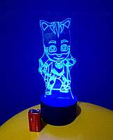 3d-светильник Кетбой (герои в масках), 3д-ночник, несколько подсветок (на батарейке)