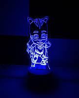 3d-светильник Кетбой (Герои в масках), 3д-ночник, несколько подсветок (батарейка+220В)