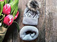 Зимня шапка і хомут для дівчинки