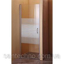 Дверь стеклянная для душа Sansa SH-706 профиль brushed/стекло прозрачное с рисунком