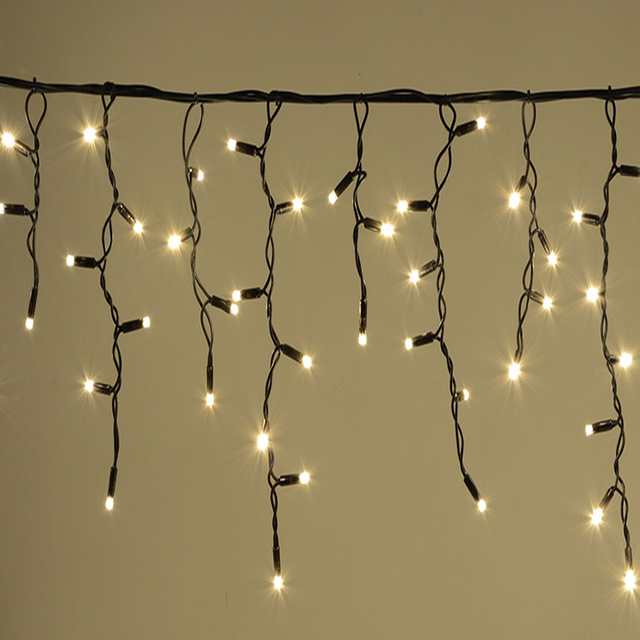 """Наружная LED гирлянда Бахрома """"Icicle"""" 10 метров теплый белый, 200 Ламп черный провод каучук пвх, 8 режимов"""
