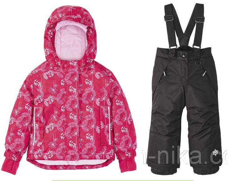 Лыжный костюм (розовая куртка и черные штаны) для девочки Lupilu р.86/92