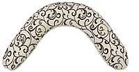 Подушка для беременных и кормления CLASSIC Лежебока Шарики пенополистирола Завитки на светлом