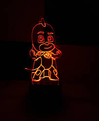3d-світильник Гекко (Герої в масках), 3д-нічник, кілька підсвічувань (на батарейці)