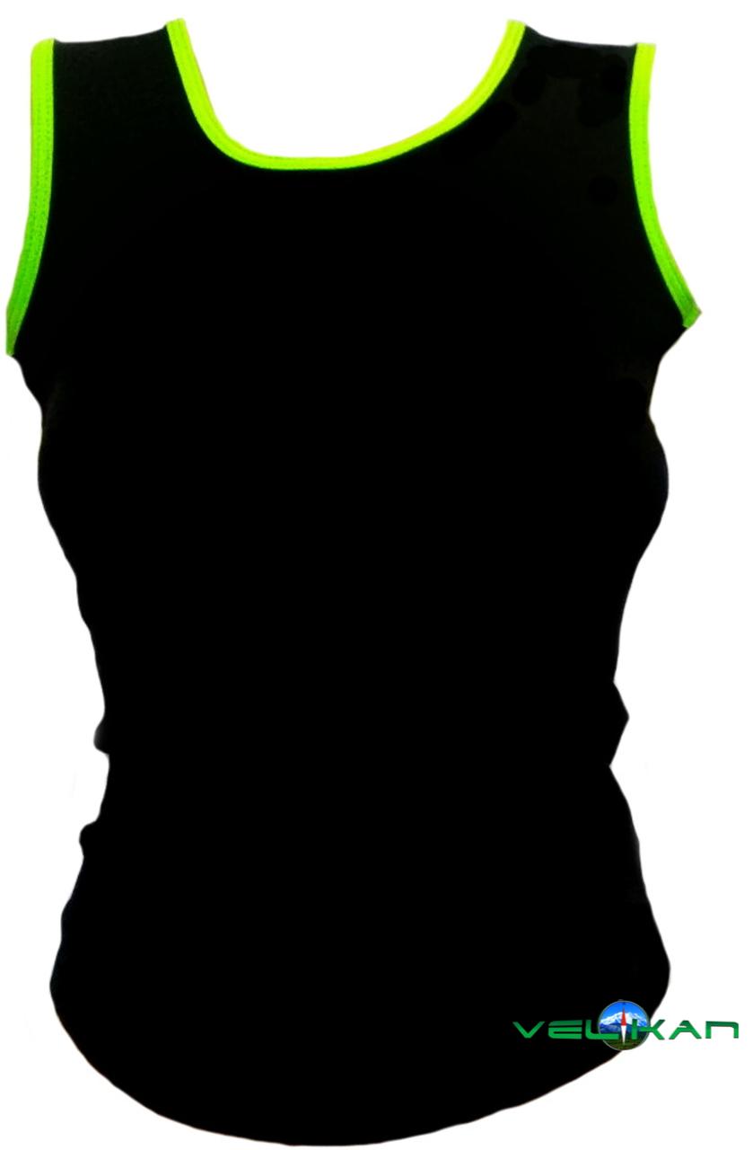 Топ майка VK с окантовкой хлопок-90% лайкра 10%  черный + лайм