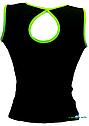 Топ майка VK с окантовкой хлопок-90% лайкра 10%  черный + лайм, фото 2