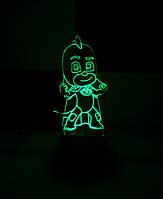 3d-светильник Гекко (Герои в масках), 3д-ночник, несколько подсветок (батарейка+220В)