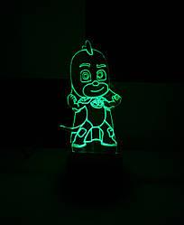 3d-світильник Гекко (Герої в масках), 3д-нічник, кілька підсвічувань (батарейка+220В)