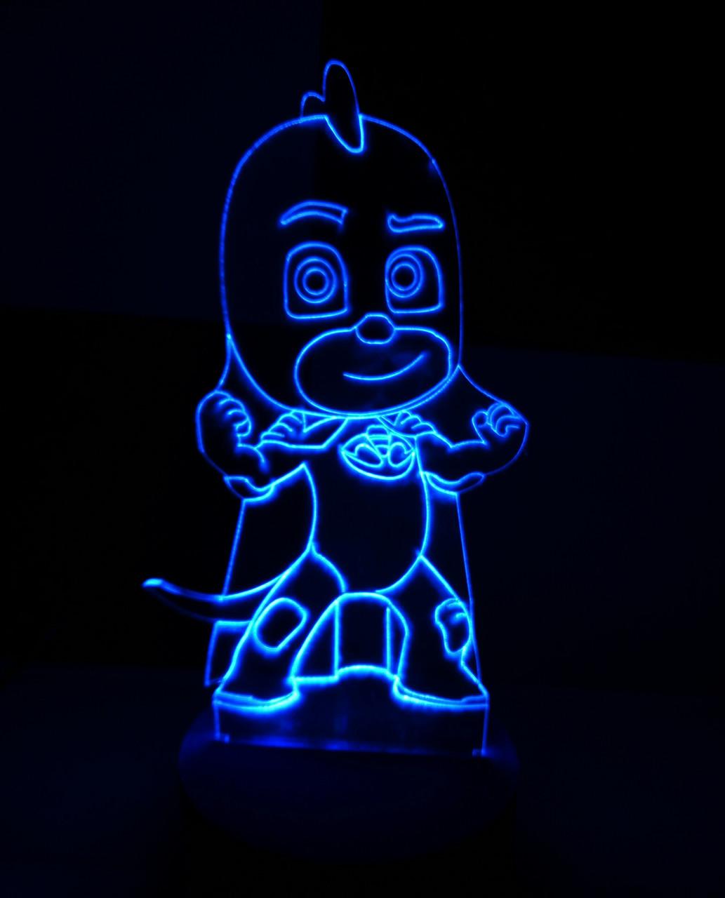 3d-светильник Гекко (Герои в масках), 3д-ночник, несколько подсветок (на пульте)