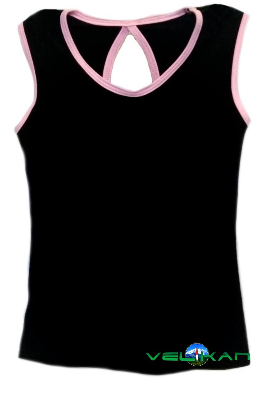Топ майка VK с окантовкой хлопок-90% лайкра 10%  черный + нежно-розовый