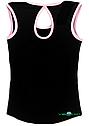 Топ майка VK с окантовкой хлопок-90% лайкра 10%  черный + нежно-розовый, фото 2
