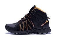 Мужские зимние кожаные ботинки Reebok Microweb Black (реплика)