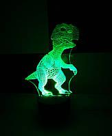 3d-светильник Динозаврик, 3д-ночник, несколько подсветок (на батарейке)