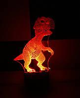 3d-светильник Динозаврик, 3д-ночник, несколько подсветок (батарейка+220В)