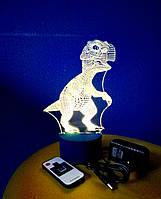 3d-светильник Динозаврик, 3д-ночник, несколько подсветок (на пульте)