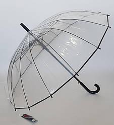 Зонт трость с прозрачным куполом и черной ручкой (16 спиц )