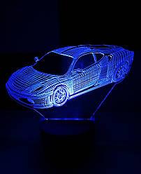 3d-світильник Феррарі, Ferrari, 3д-нічник, кілька підсвічувань (на батарейці)