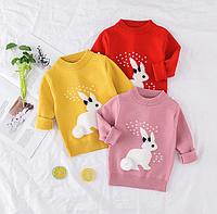 Милі в'язані светрики для дівчаток / свитер для девочек Одежда для детей вязаный свитер с рисунком кролика