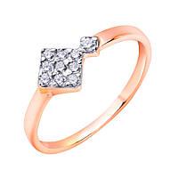 Золотое кольцо в красном цвете Ромбики с белыми фианитами 000115576 16 размер
