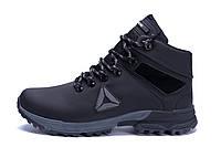 Мужские зимние кожаные ботинки Reebok Black (реплика)