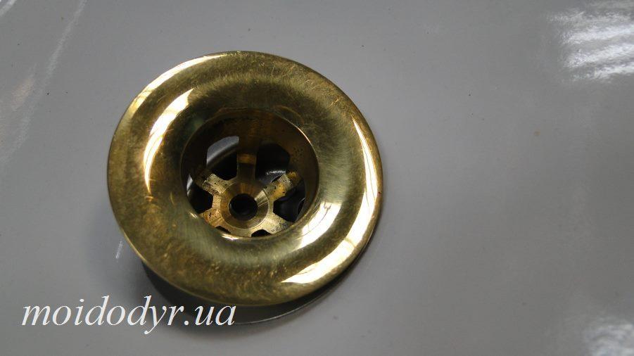 Слив для умывальника (античная латунь), донный клапан