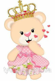 Один Годик Вафельная картинка мишка принцесса