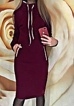 Повседневне утепленное платье спортивного стиля до колен серого цвета, фото 2