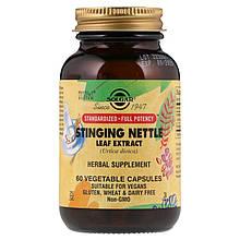 """Экстракт листьев крапивы двудомной, SOLGAR """"Stinging Nettle Leaf Extract"""" (60 капсул)"""