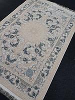 Персидский ковер 1х1,5 в кремово-сером цвете из натурального бамбукового шелка производства Ирана
