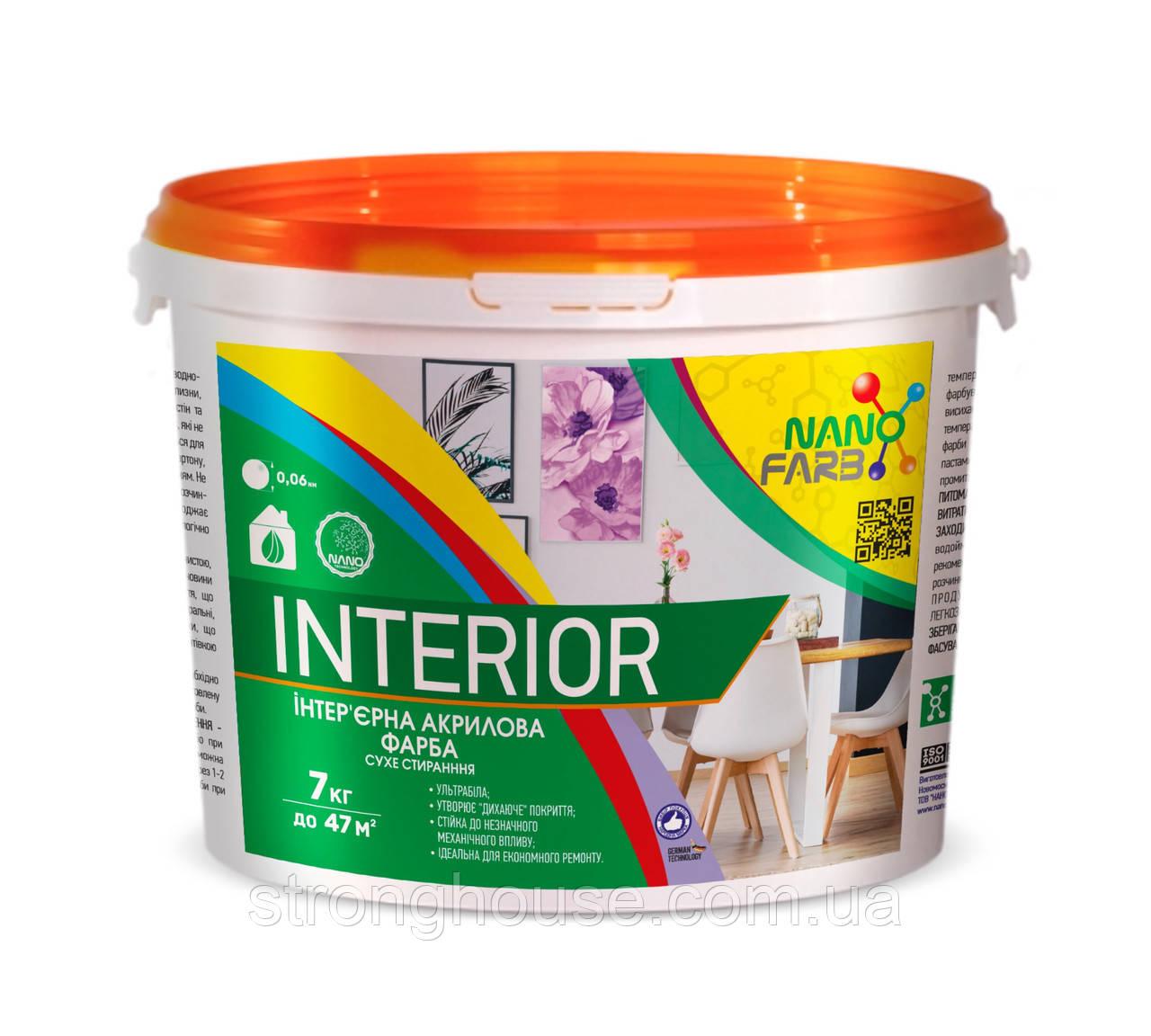 Интерьерная акриловая краска сухое стирание Interior Nano farb 7 кг