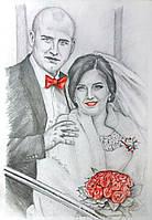 Портрет на подарок молодожёнам на свадьбу, годовщину свадьбы, отношений