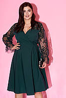 Вечернее платье на запах темно-зеленого цвета с прозрачными рукавами. Модель 23286. Размеры 48-64