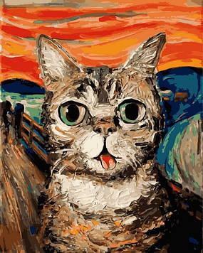 Картина по номерам 40×50 см. Mariposa Кот в стиле Ван Гога Художник Айя Триер (Q 2194)