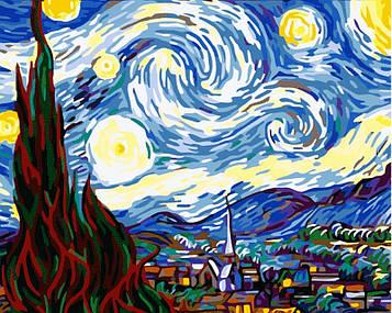 Картина по номерам 40×50 см. Babylon Звездная ночь Ван Гог (MS-233)