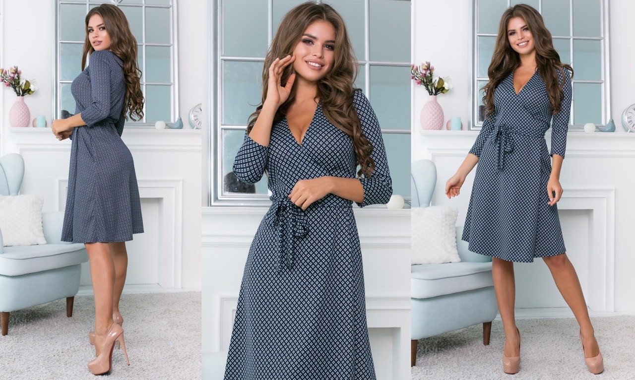 Платье женское декольте на запах трикотажное